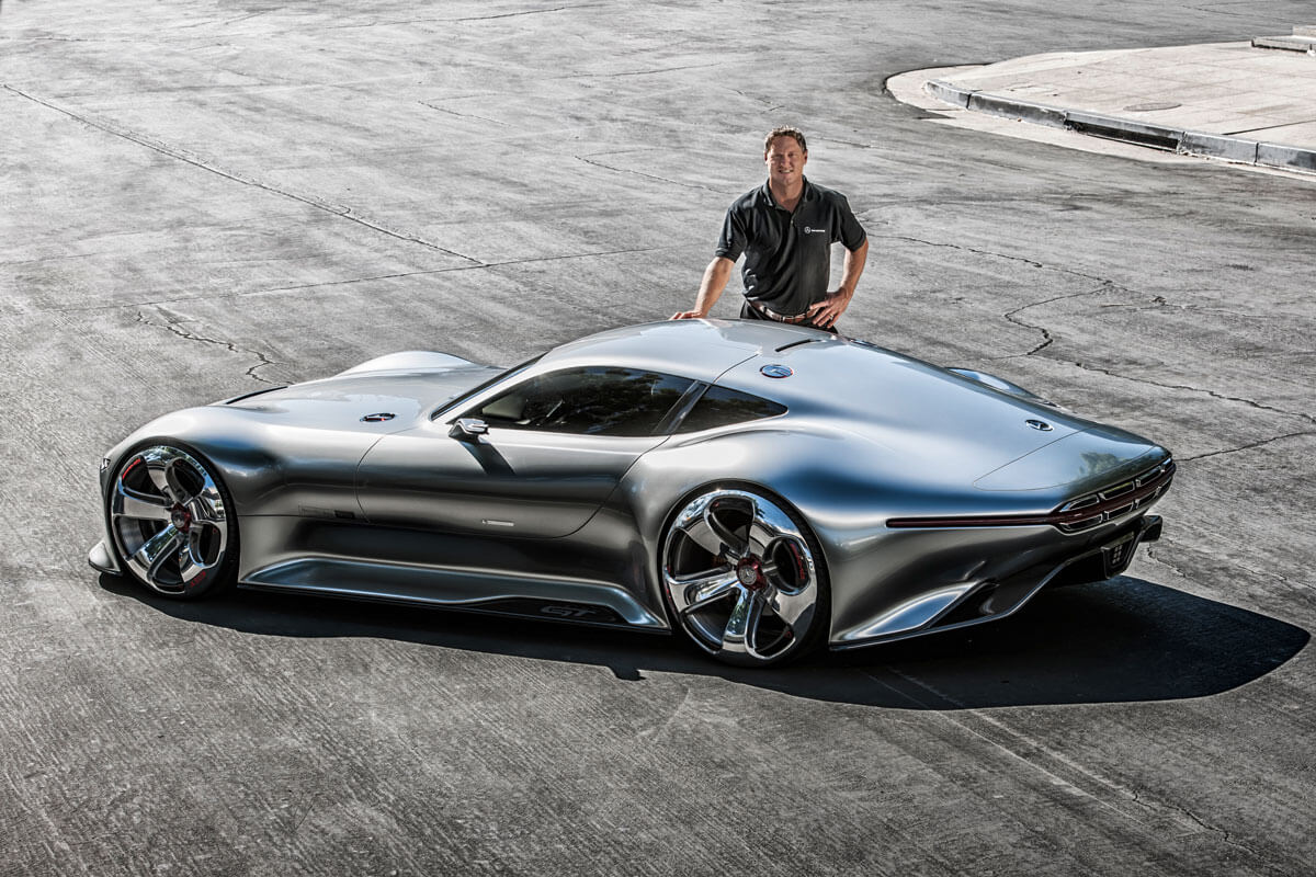 gorden wagener with mercedes benz concept car