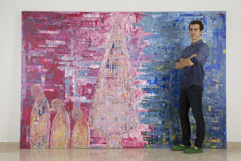 large abstract painting in pink and blue colours with artist Sassan Behnam Bakhtiar on right handside