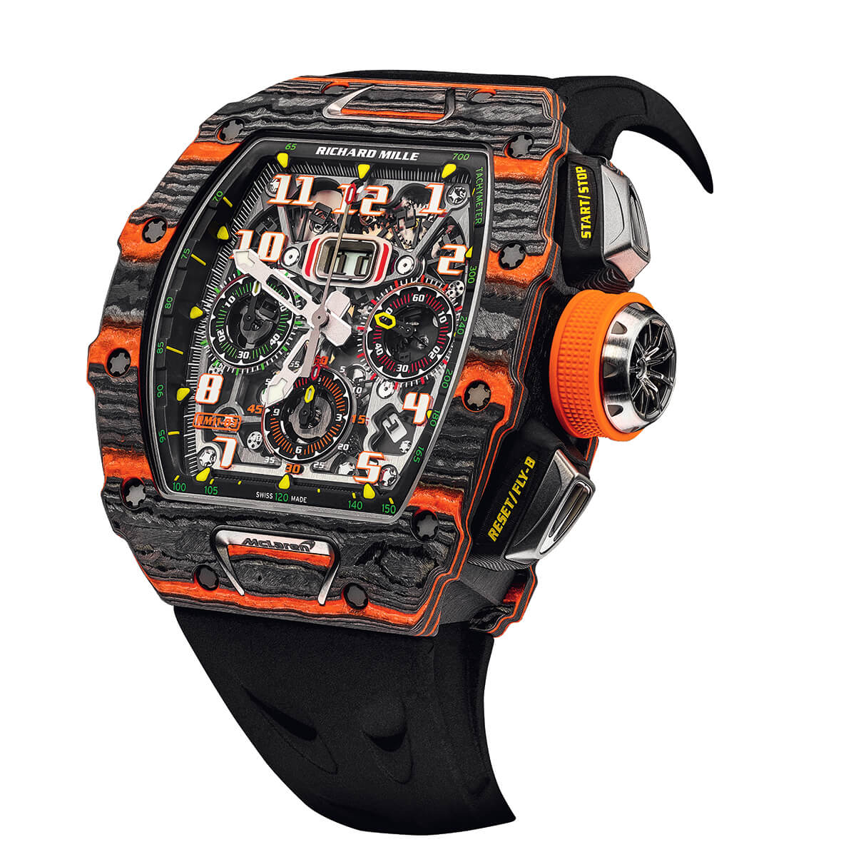 still life image of Richard Mille watch with black strap and large rectangular face