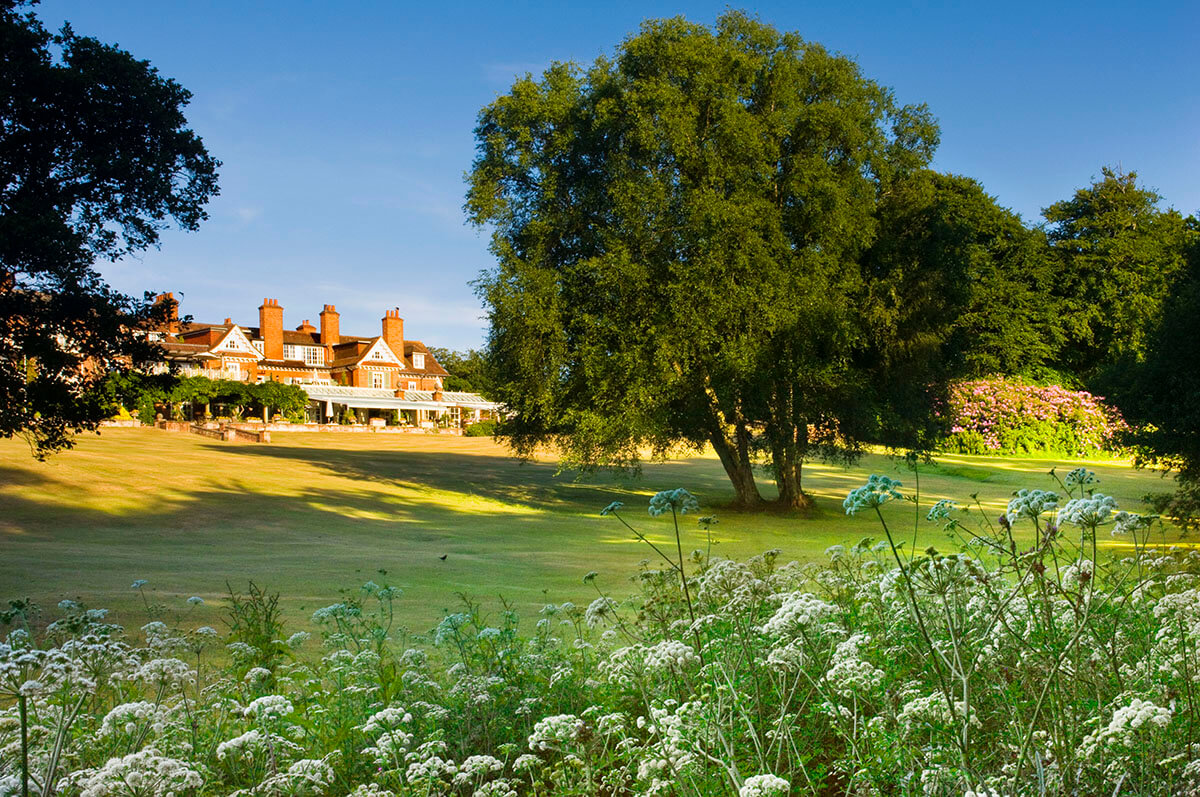 Chewton Glen hotel main house pictured in the summer light