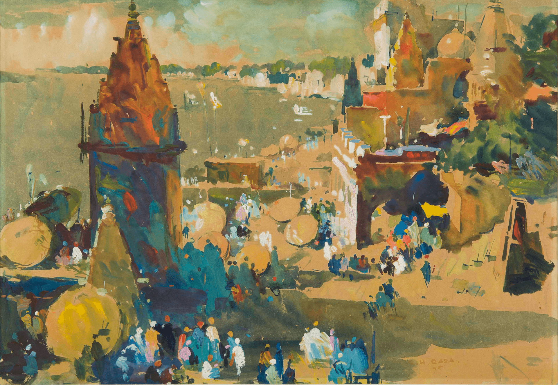 Abstract painting of a coastal town by Indian modernist painter S.H.Raza