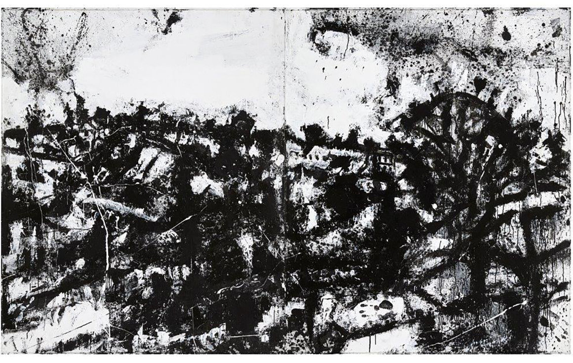Abstract black and white landscape painting by British artist John Virtue