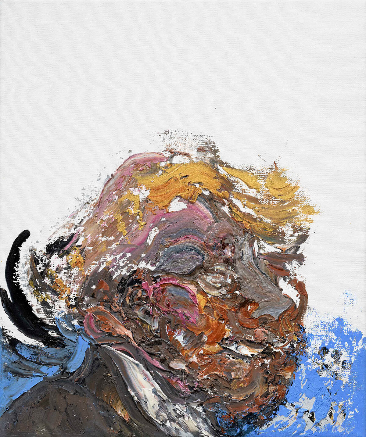 Abstract oil painting of Donald Trump, ridiculing the US president