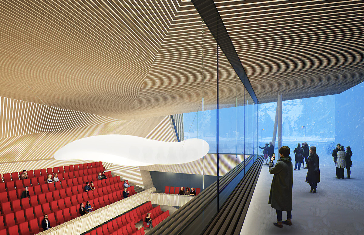 Render of the Studio Seilern-designed concert hall in Andermatt Switzerland