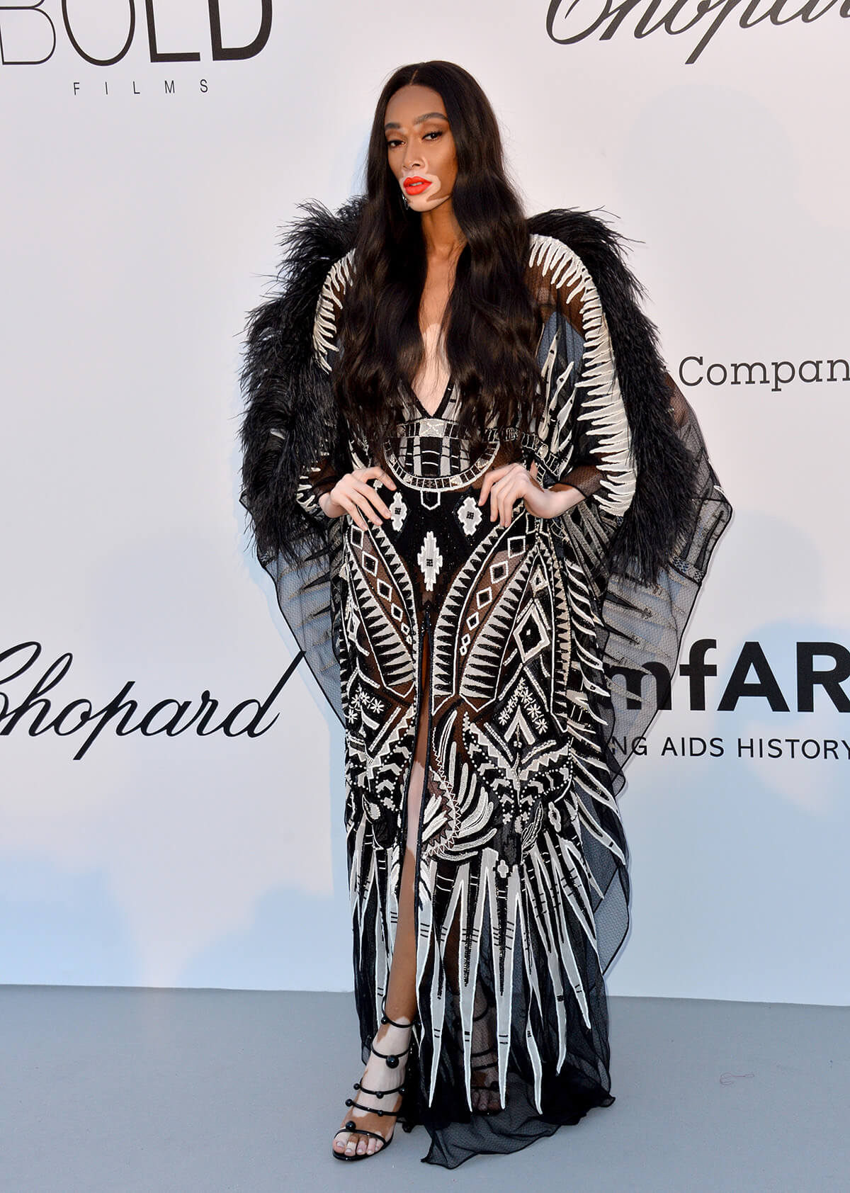 Supermodel Winnie Harlow poses at amFAR gala wearing a black and white dress