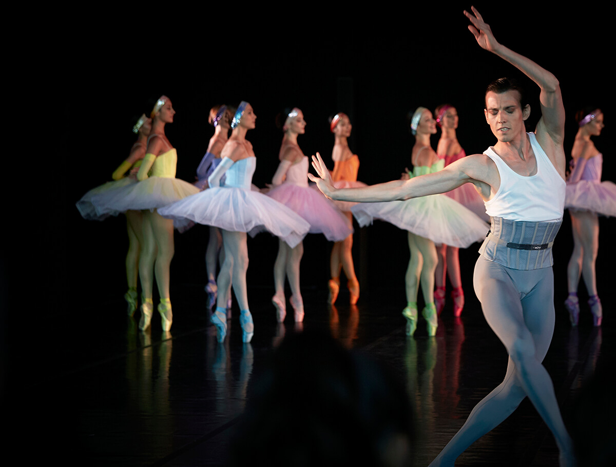 Ballet dancers in performance with a male lead