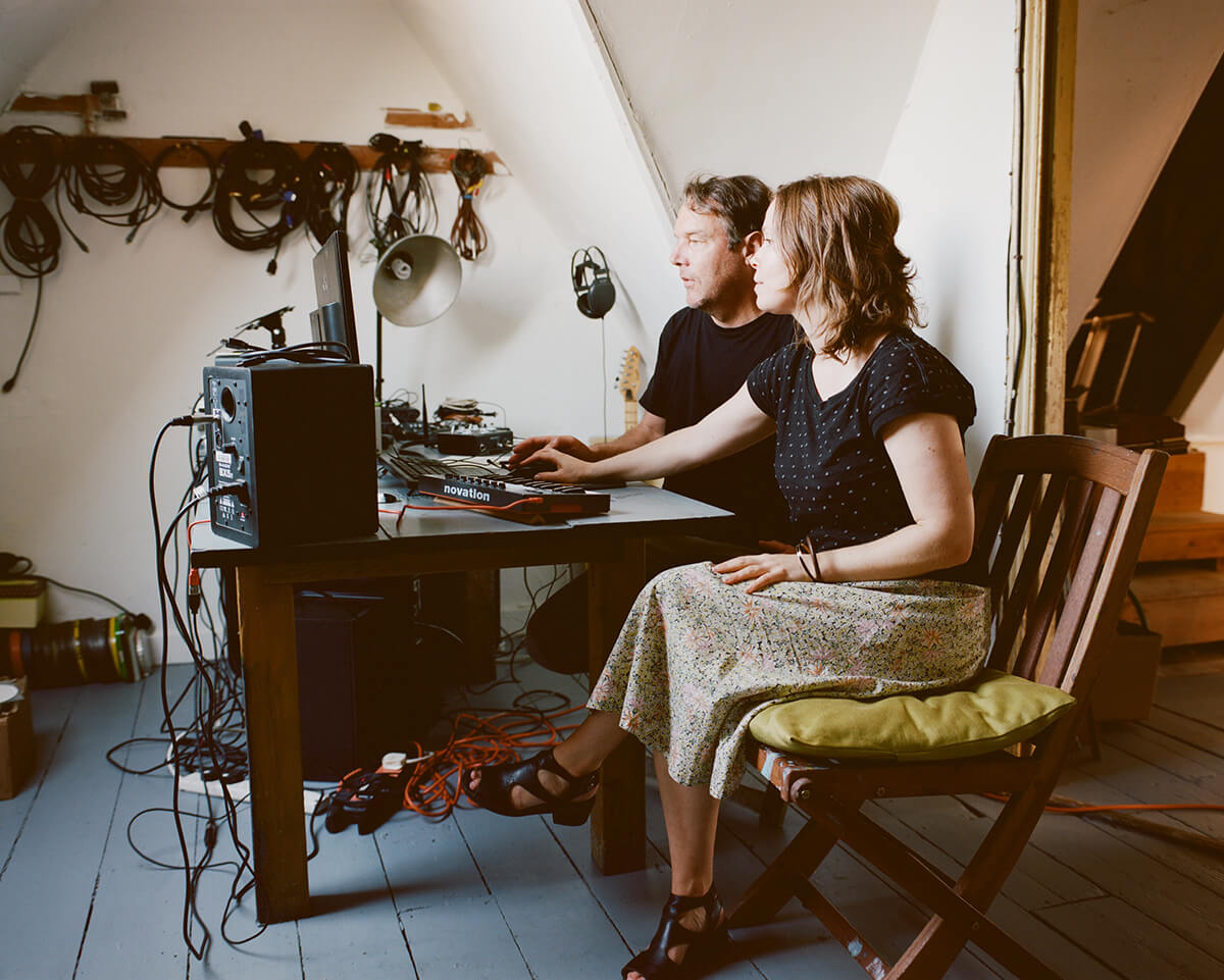 Experimental art duo overlap at work in their home studio