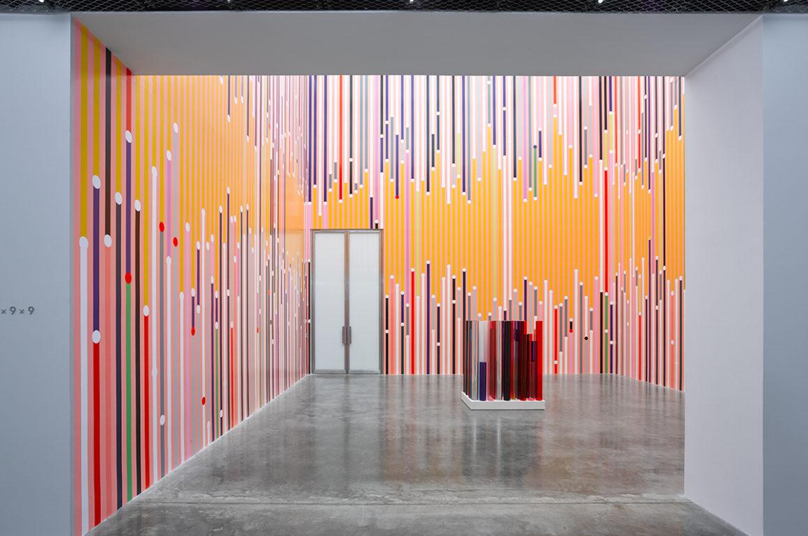 Gallery installation shot showing work by Sarah Morris