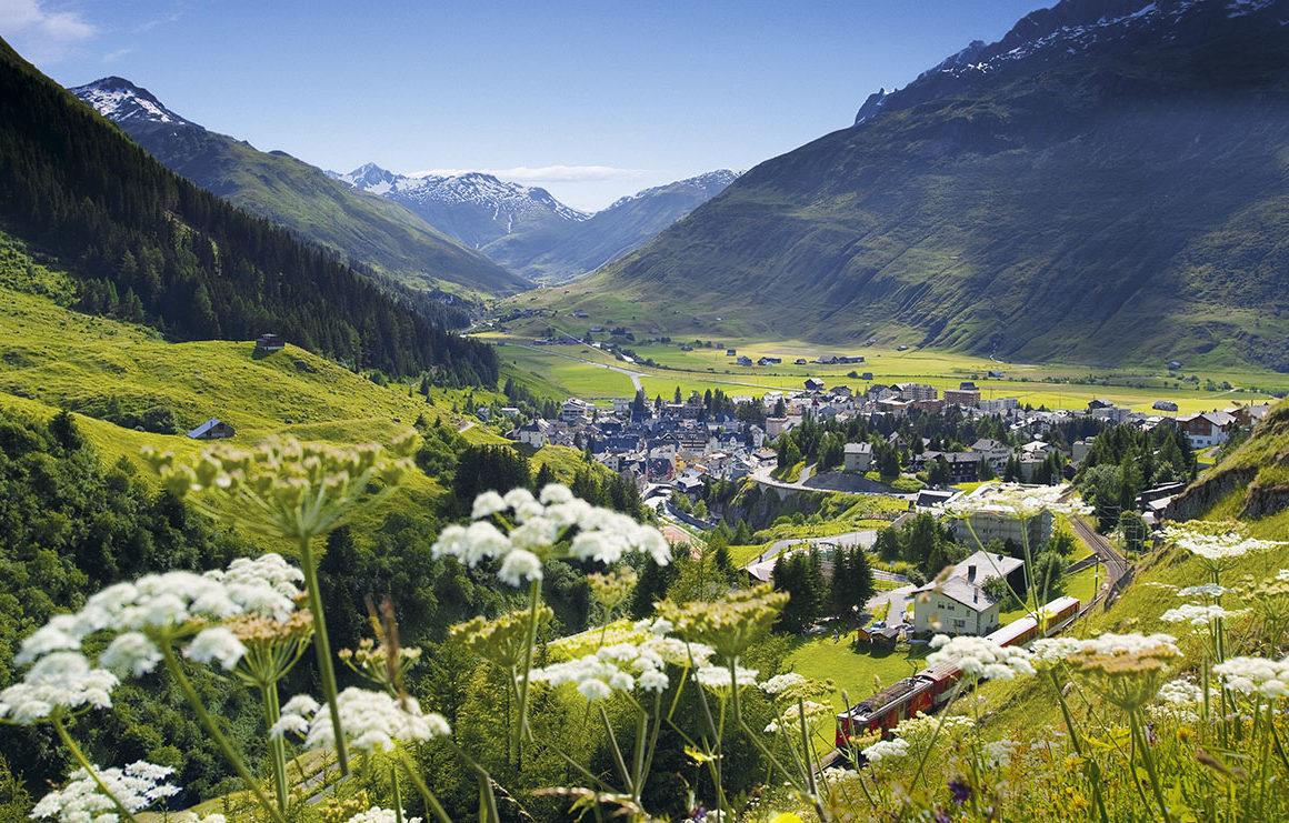 Andermatt Swiss Alpine village in summertime