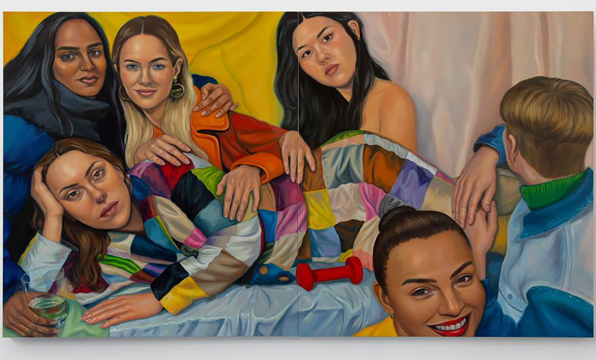 Painting of a group of young women in a bedroom setting