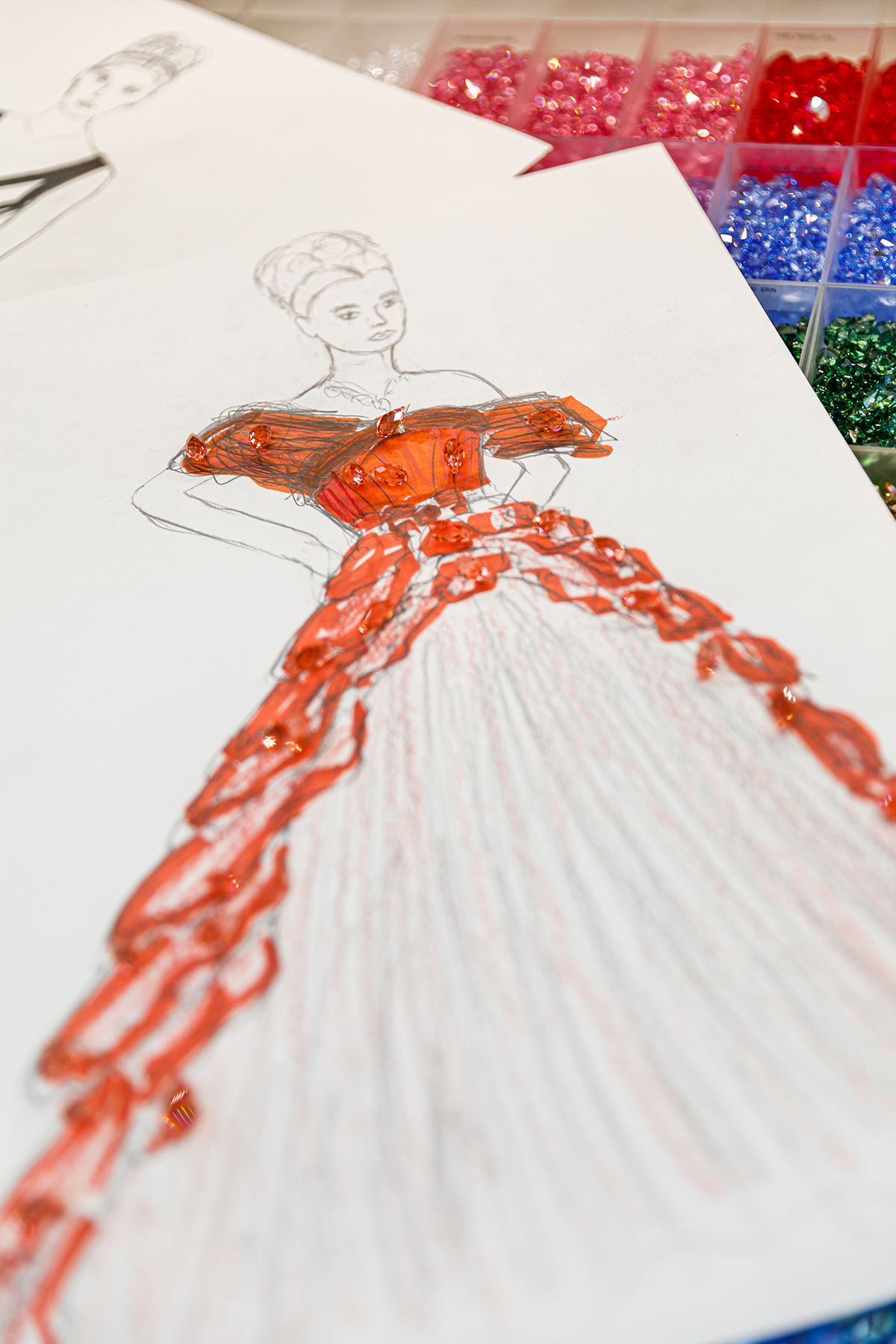 Artistic sketch of costume dress