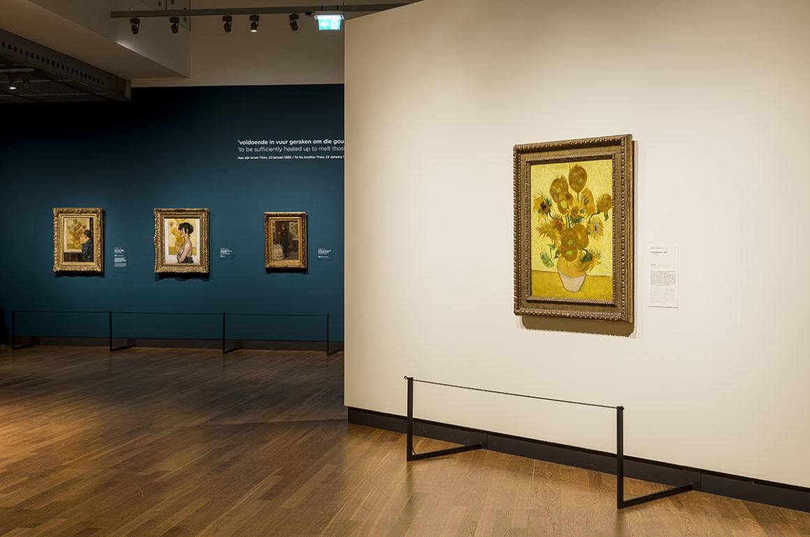 Display of Van Gogh sunflower paintings