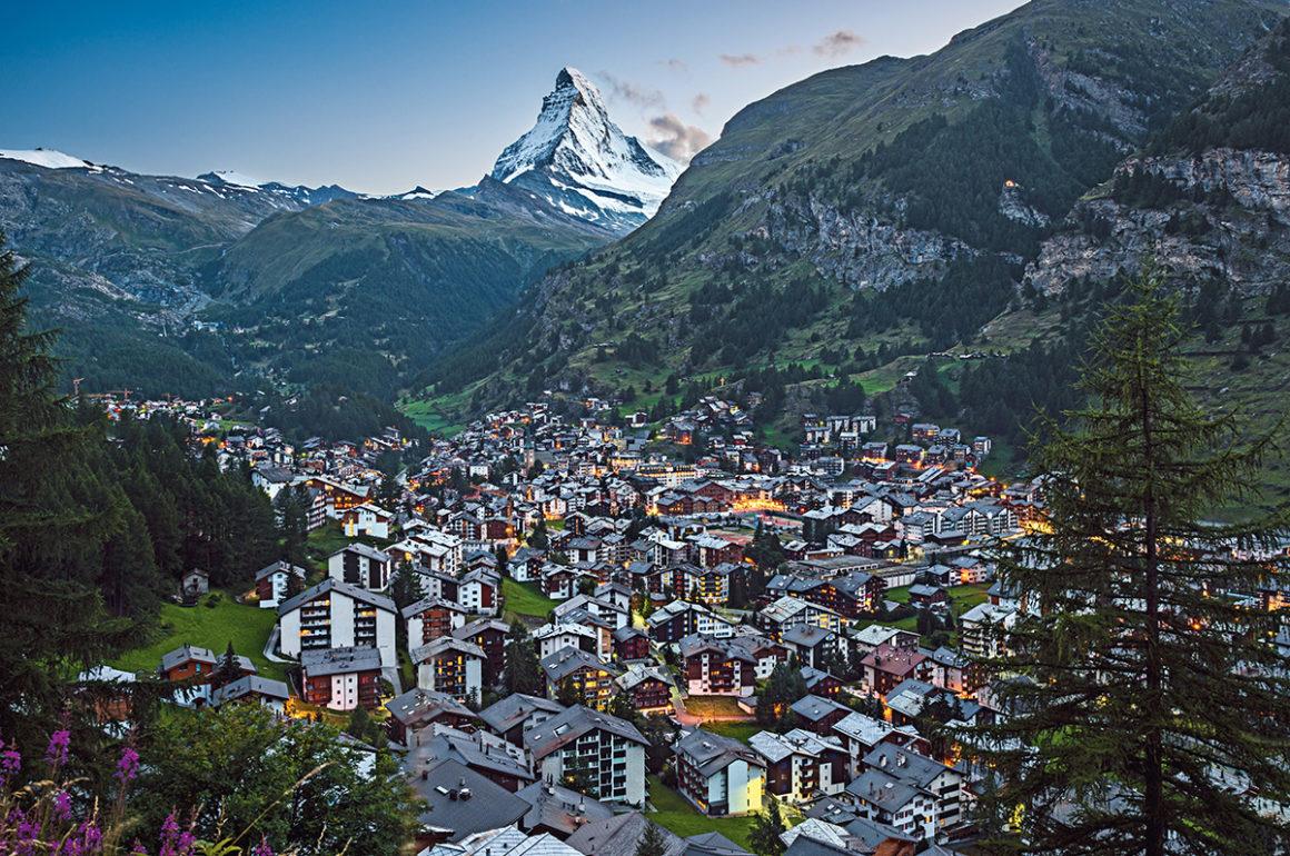 City of zermatt with the matterhorn mountain in the distance