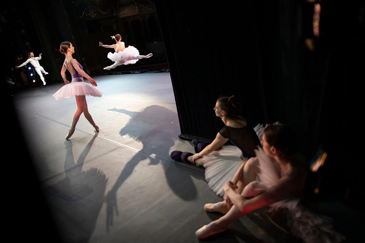 Ballerinas practising for a performance