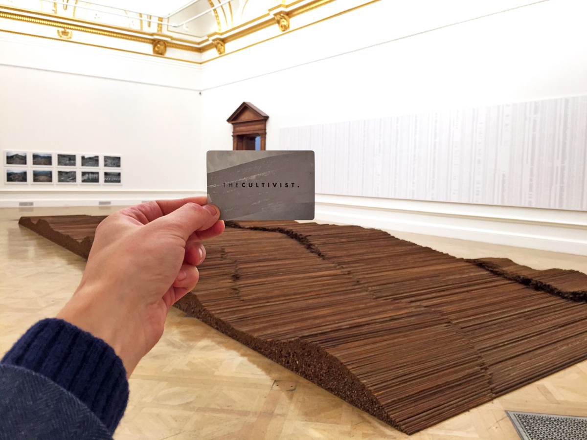 A hand holding a membership card in front of an artwork