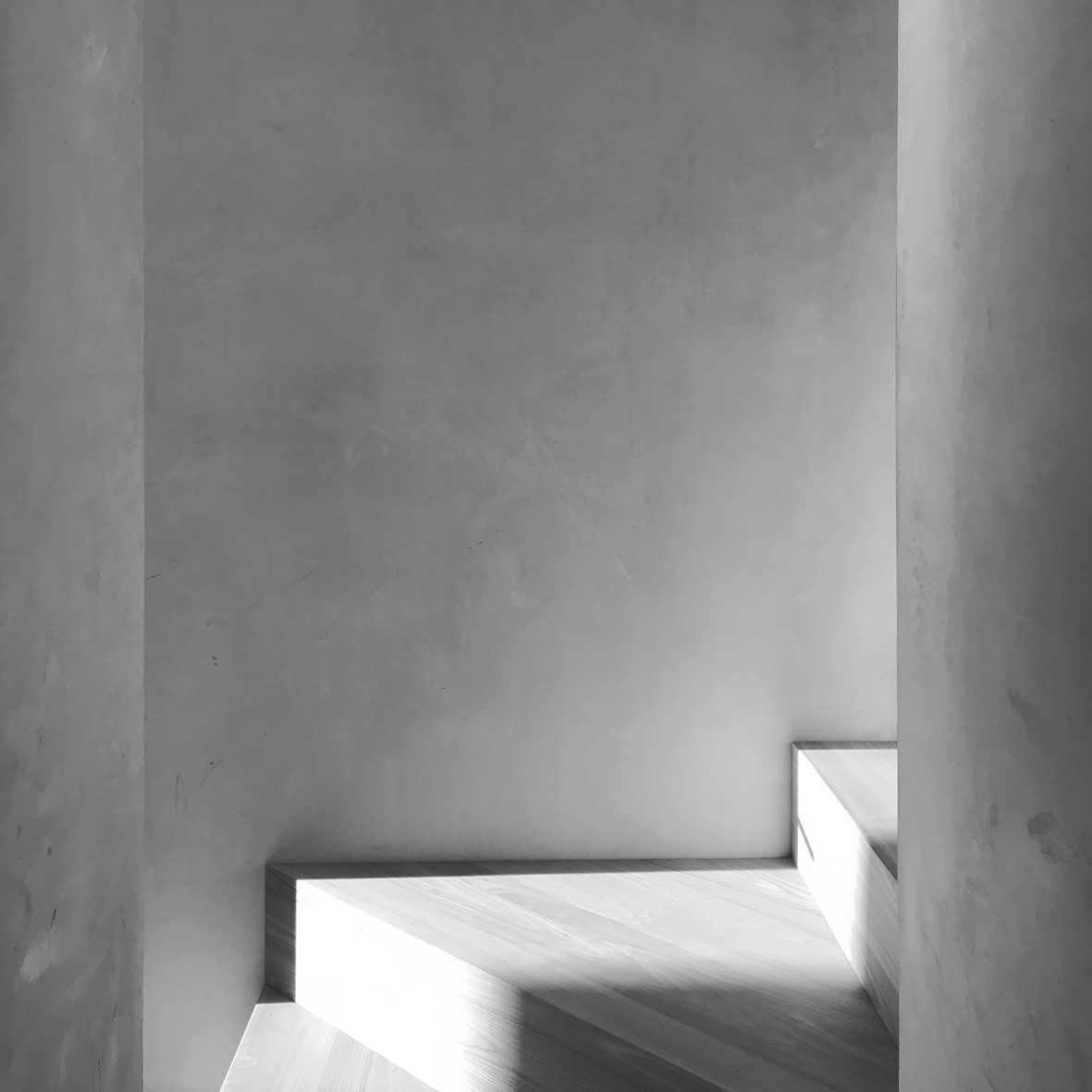 Black and white photograph of stairwell