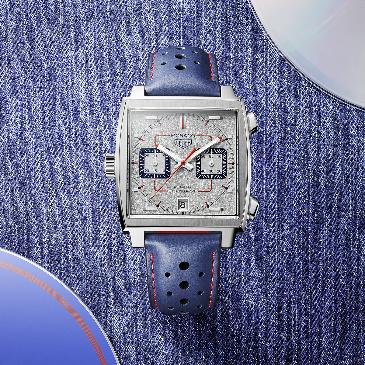 Luxurious timepiece with blue strap and square clock face