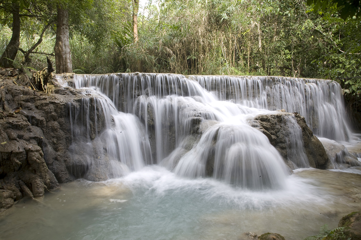 Exotic waterfalls with blue waters