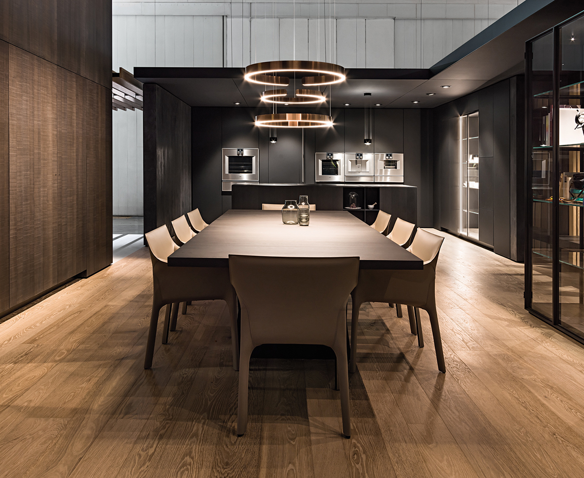 Showroom kitchen with contemporary interiors