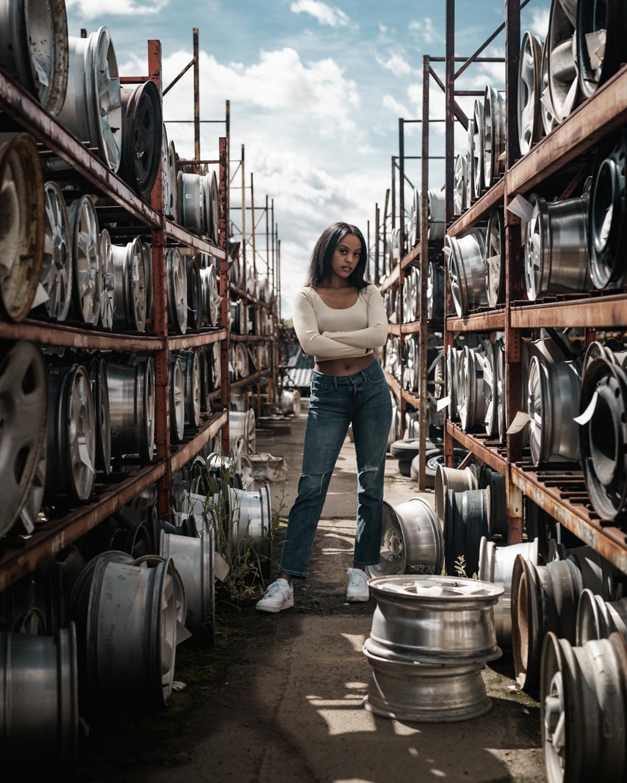 woman in car garage