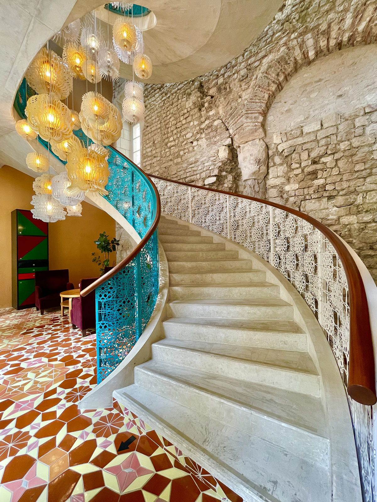 curved stone staircase
