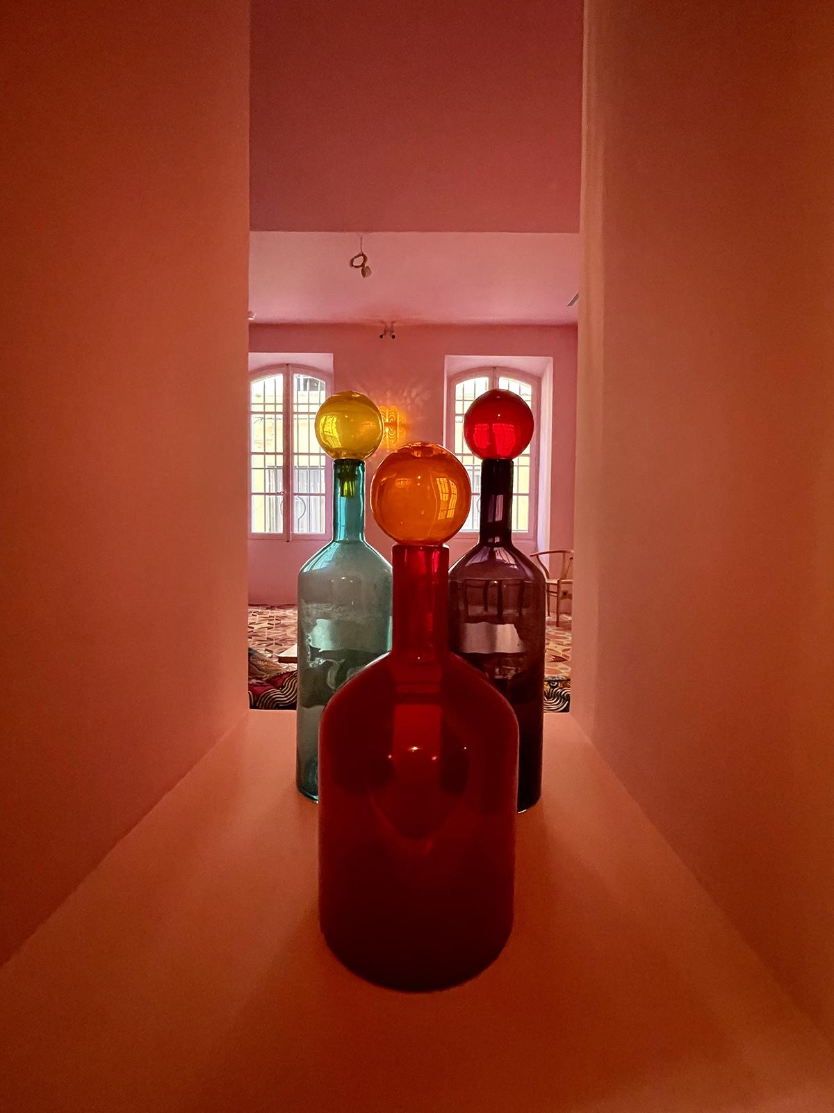 colourful glass bottles